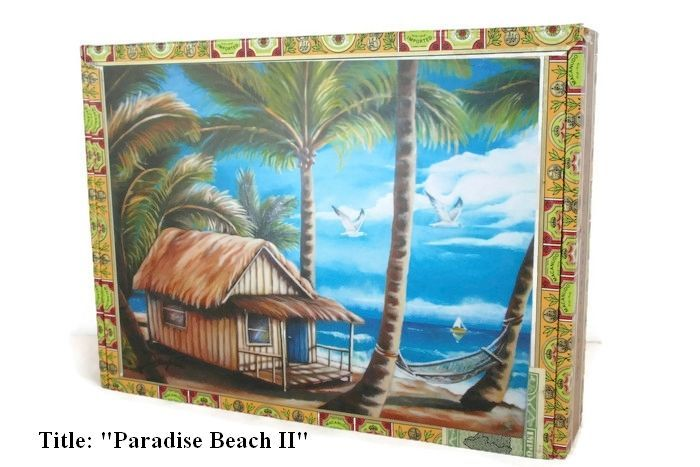"""Price Down! Cigar Box with artwork"""" Paradise Beach II"""". Cuban Collection."""