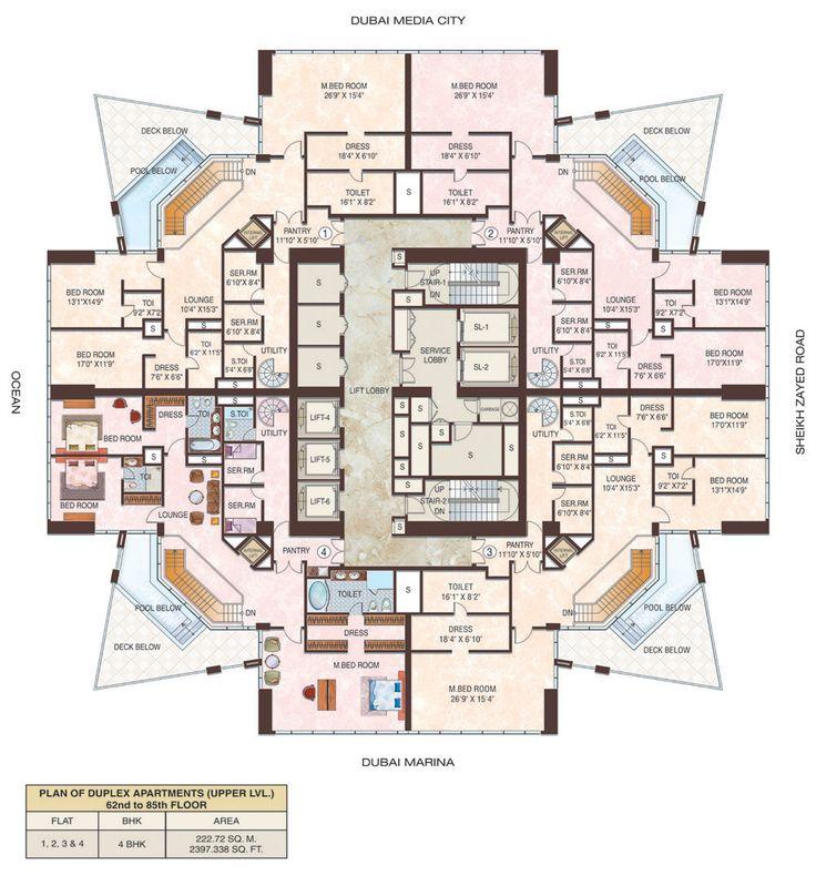 San Marina Apartments: 23 Dubai Marina Duplex Floor 2 Floors 62-85
