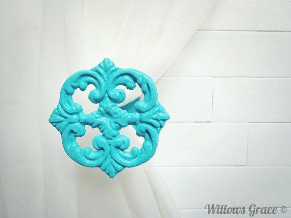 Window Treatments / Two Metal Curtain Tie Backs / Curtain Tiebacks / Curtain Holdback / Drapery Tie Back / Shabby Chic / Turquoise Decor