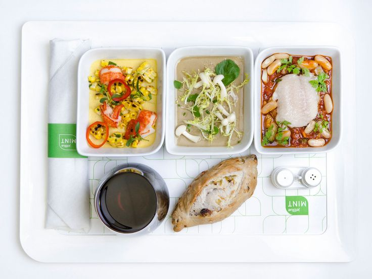 Guests flying JetBlue's Mint premium class on transcontinental routes from JFK and Boston to LAX and San Francisco may choose three dishes from the menu of mains, both hot and cold, all which change with the season and are signature flavors of the Manhattan restaurant Saxon   Parole.
