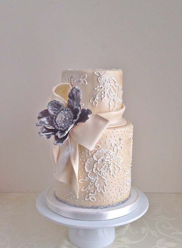Sparkle & Lace Two-tiered Wedding Cake   Cakes & Lace, Cakes With Jewels, Elegant Cakes, Wedding Cakes   Beautiful Cake Pictures