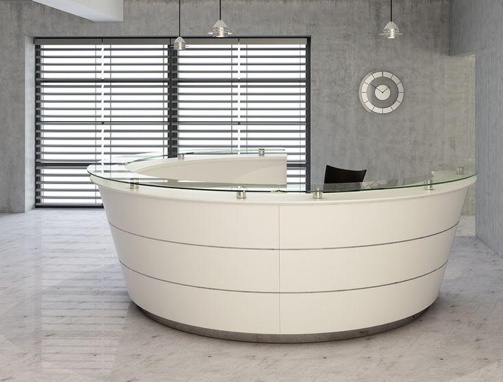 #RezeptionMöbel #ThekeEmpfang #Thekenvitrine #Bürotresen  Reception desk curved with decoration and curved reception desk