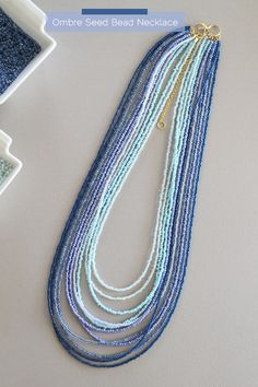 DIY Ombre Seed Bead Necklace Tutorial from fortheloveof.net - so pretty & can be adapted to any color you like for your wardrobe.  LOVE it!
