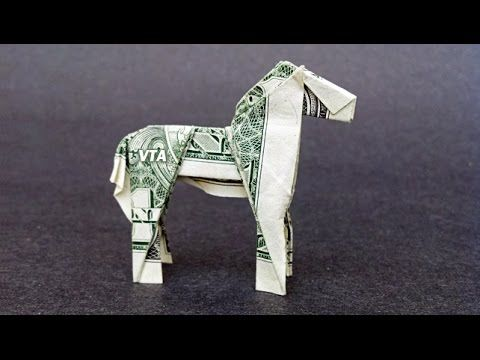 Money Origami HORSE with link to Folding Video