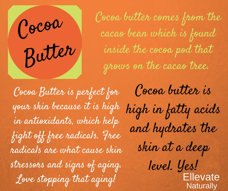 Benefits of Cocoa Butter for your skin https://www.facebook.com/ellevatenaturally/photos/a.512672888762584.128986.512666322096574/952490618114140/?type=1&theater