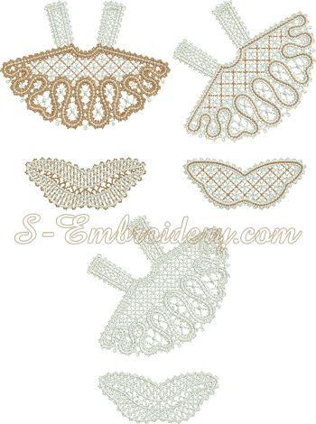 3D Angel Battenberg lace Christmas ornament machine embroidery set