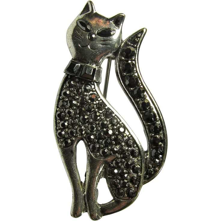 Vintage Black Rhinestone Cat Brooch -- found at www.rubylane.com #vintagebeginshere #under25dollars