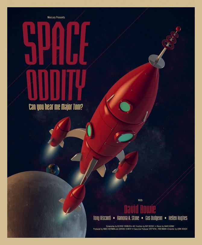 Space Oddity retro-futuristic poster