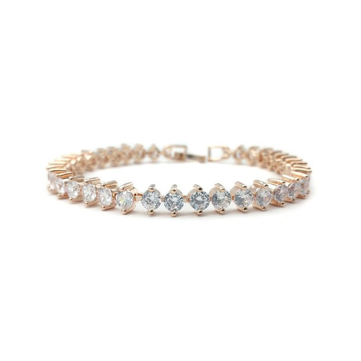 A stunning cubic zirconia bracelet. Rose gold plated.Approximately 18.5cm long