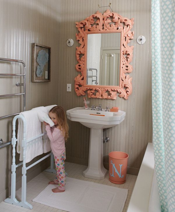 I love the color of this room and the style of the mirror. Kids Bathroom Decor Ideas | POPSUGAR Moms
