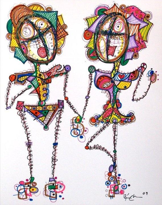 Flirts  Modern Abstract Drawing by Kim Dean  Stick by KimDeanArt, $59.99