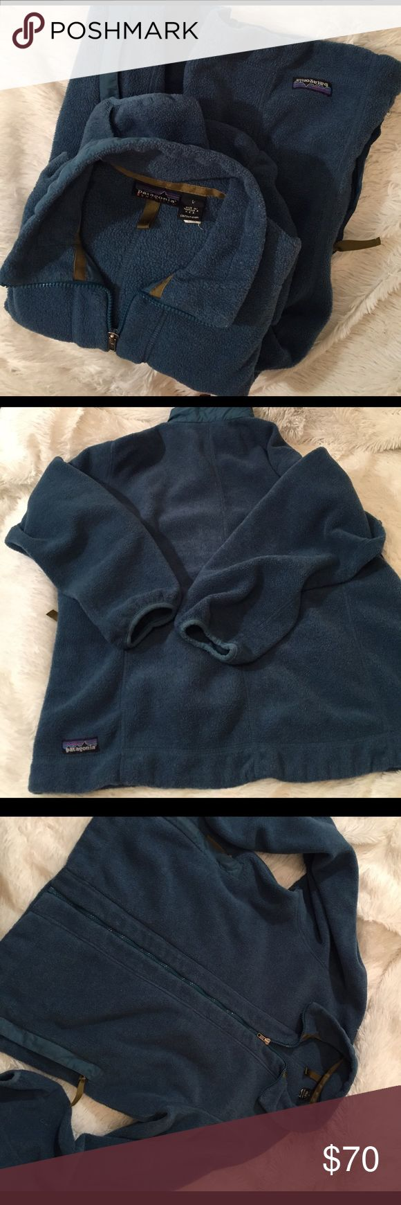 Patagonia synchilla jacket unisex Large gently used no stains or holes some gentle piling nothing to affect the jacket as seen sleeves in photos small hole in thumb area but an EASY fix and cheap ! Some seamstresses will do it for free since it's so fast & easy ** there is not fading just the lighting ! Patagonia Jackets & Coats
