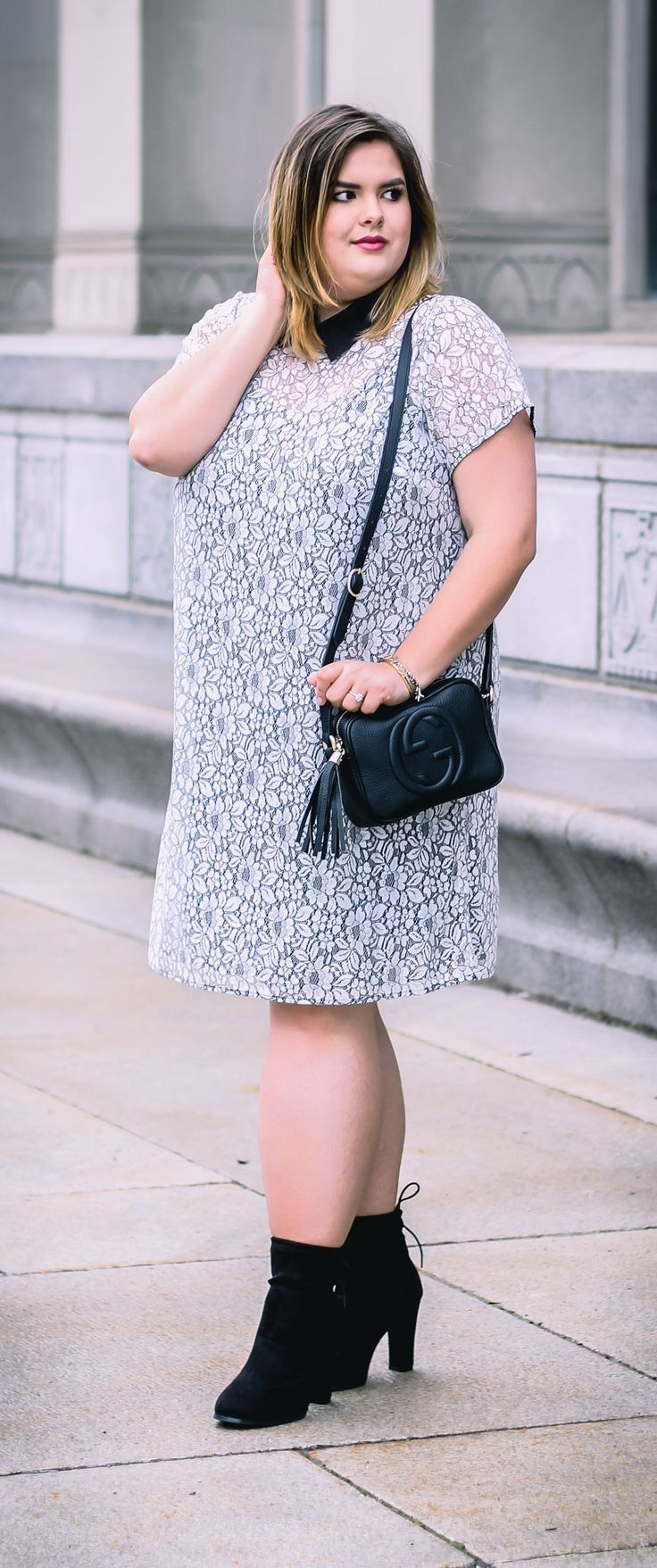 Black & White lace collared dress