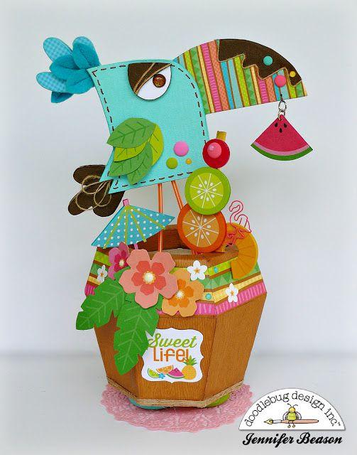 Doodlebug Design Inc Blog: Fun in the Sun Collection: Sweet Life 3D Paper Creation by Jennifer Beason