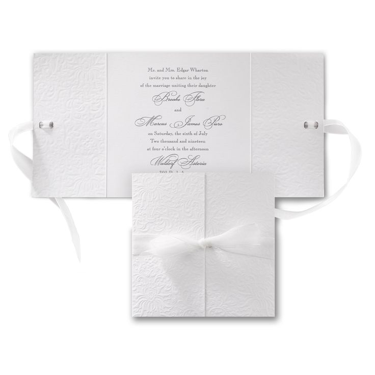 wedding invitation tied with ribbon%0A An embossed wrap tied with sheer ribbon is the perfect way to present your wedding  invitation  Choose the ink color for printing the card inside