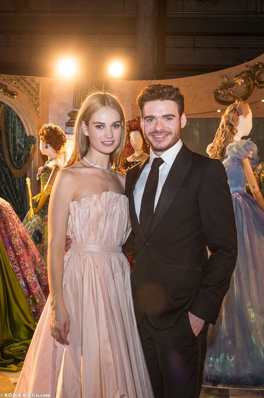 Lily James and Richard Madden at the 'Cinderella' Exibithion at the 65th Berlinale on February 13, 2015.