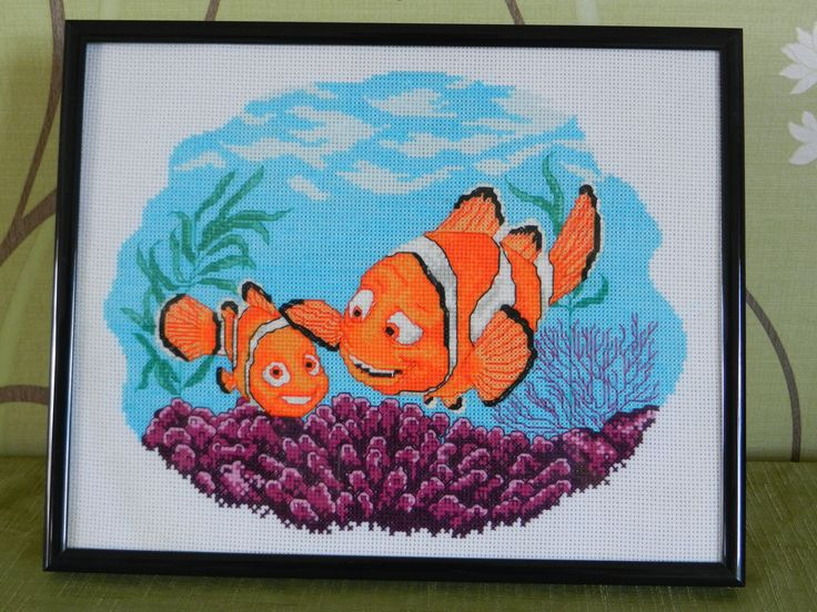 finding nemo cross stitched and framed by Tulipacious Designs.