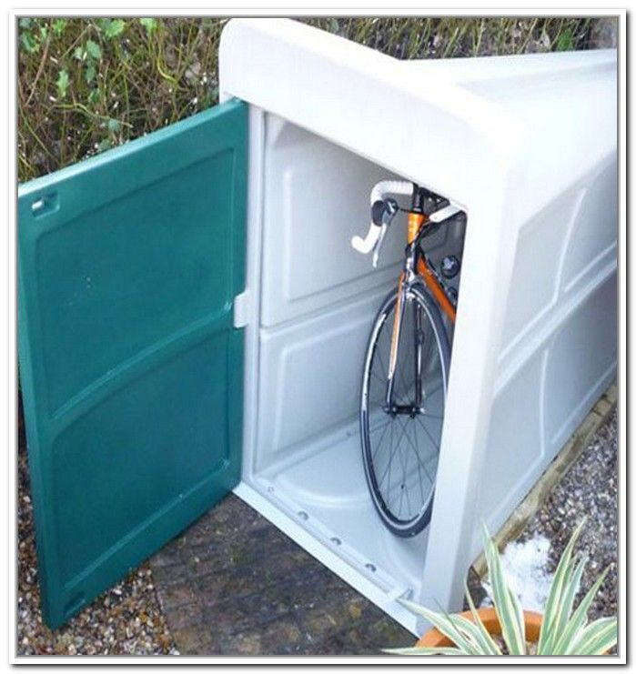 Bike storage shed plastic bike garage pinterest bike for Motorcycle storage shed