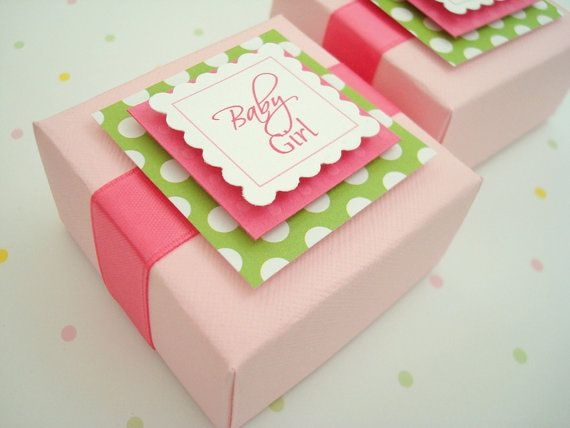 Pink and Green Baby Girl Favor Boxes Set of Ten by SimpleTastes, $20.00