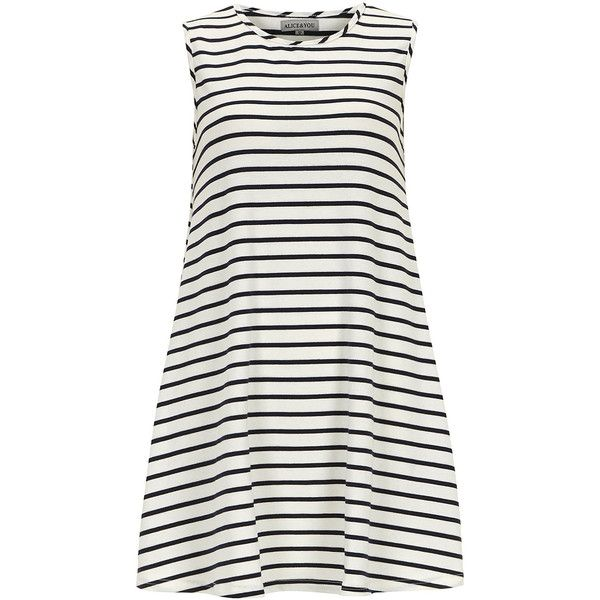 Alice & You Navy White Stripe Swing Dress found on Polyvore