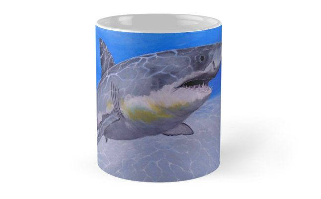 Coffee Mug,  home,kitchen,accessories,cool,beautiful,fun,fancy,unique,trendy,artistic,awesome,unusual,gifts,presents,for sale,design,ideas ,aqua,blue,shark,redbubble