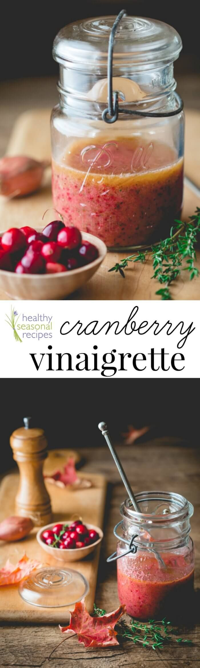 Don't be victim to boring salads, arm yourself with this autumn work of art -- homemade cranberry vinaigrette can transform any greens (plus it's vegan-friendly, paleo and gluten-free).