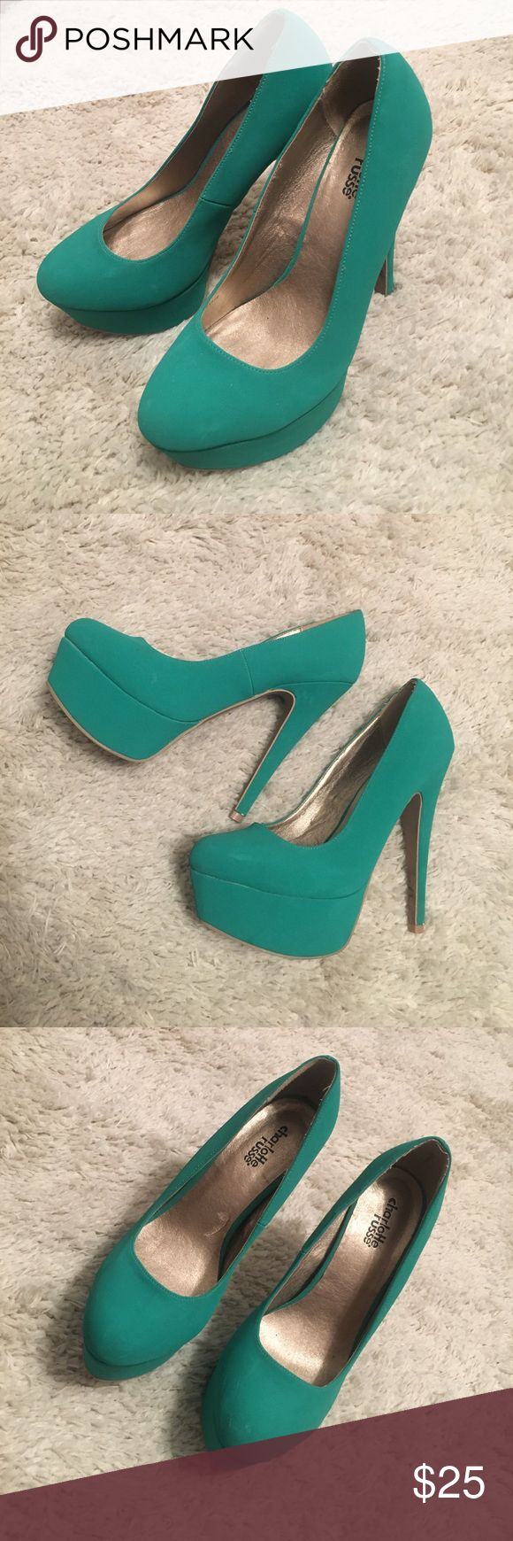 Charlotte Rousse teal pumps! Thin heeled teal pumps, very comfortable! Shoes Heels