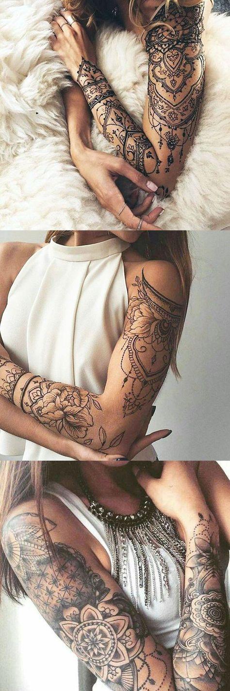 Lotus Arm Sleeve Tattoo-Ideen für Frauen bei MyBodiArt.com – Tribal Mandala Bracelet – tattoofrauen