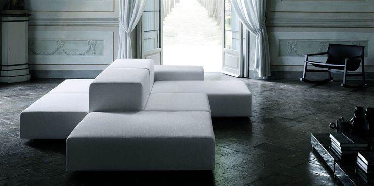 Modular sofa / contemporary / leather / by Piero Lissoni EXTRA WALL Living Divani