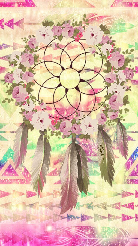 Tumblr iphone wallpaper dreamcatcher - Vintage Floral Aztec Dreamcatcher Wallpaper I Created For The App Top Chart