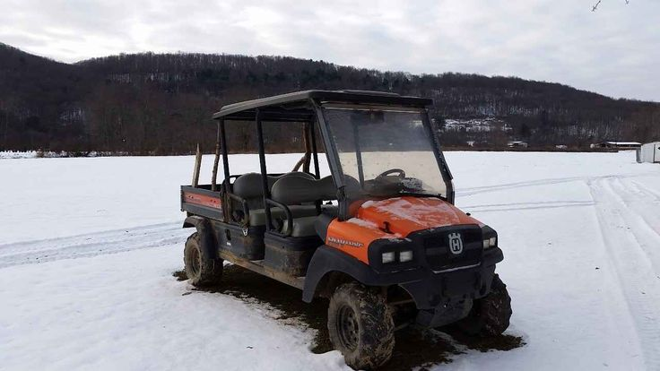Used 2010 Husqvarna HUV 4421DXL ATVs For Sale in Pennsylvania. For Sale is a Husqvarna 4421D XL HUV. It is a 4x4 diesel utility vehicle with two rows of seating, tilt cart, roof, open cab with curtains, hitch, and working radio and heater. Very good working conditions. Contact Canfield's Outdoor Power Equipment to test drive and see how well it moves through mud and climbs hills!20 hp Kubota Diesel engine, 25-inch all terrain tires, tilt bed capacity up to 1,050 lbs., and covered CVT