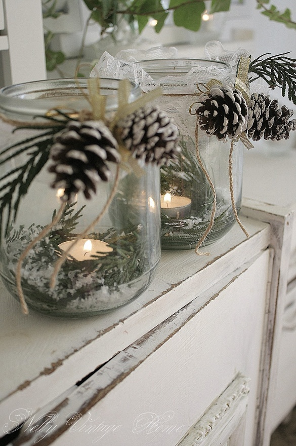 nelly vintage home winter tea light holders.