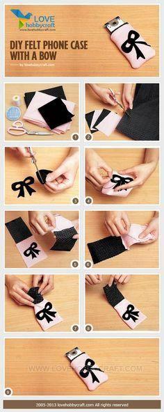 craft tutorials: DIY felt phone case with a bow