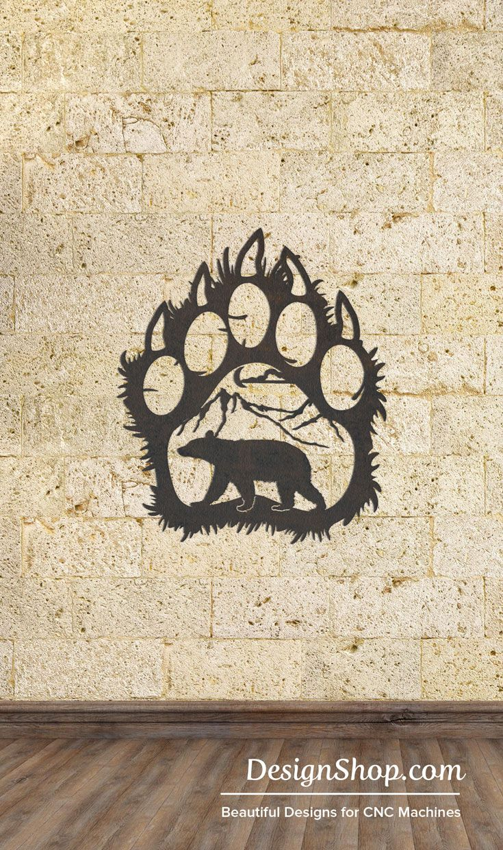 Paw wall art cut from metal with cnc this dxf file is designed for plasma