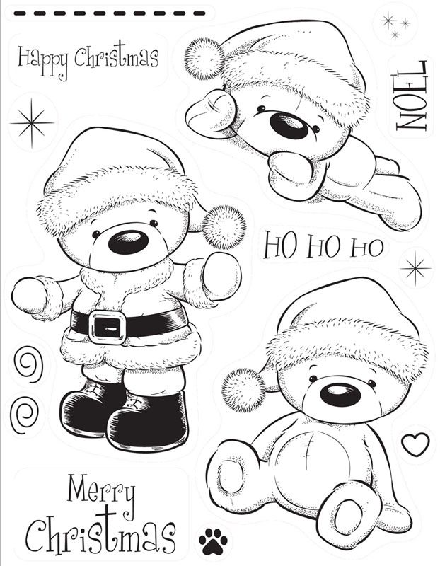 ~~pinned from site directly~~ THIS IS ACTUALLY A STAMP, BUT IF THE PIC IS PRINTED OFF IT COULD BE A CUTE COLOR PAGE FOR A LITTLE ONE. Kanban clear rubber stamps - Christmas - Woolly Bears - Santa Bear