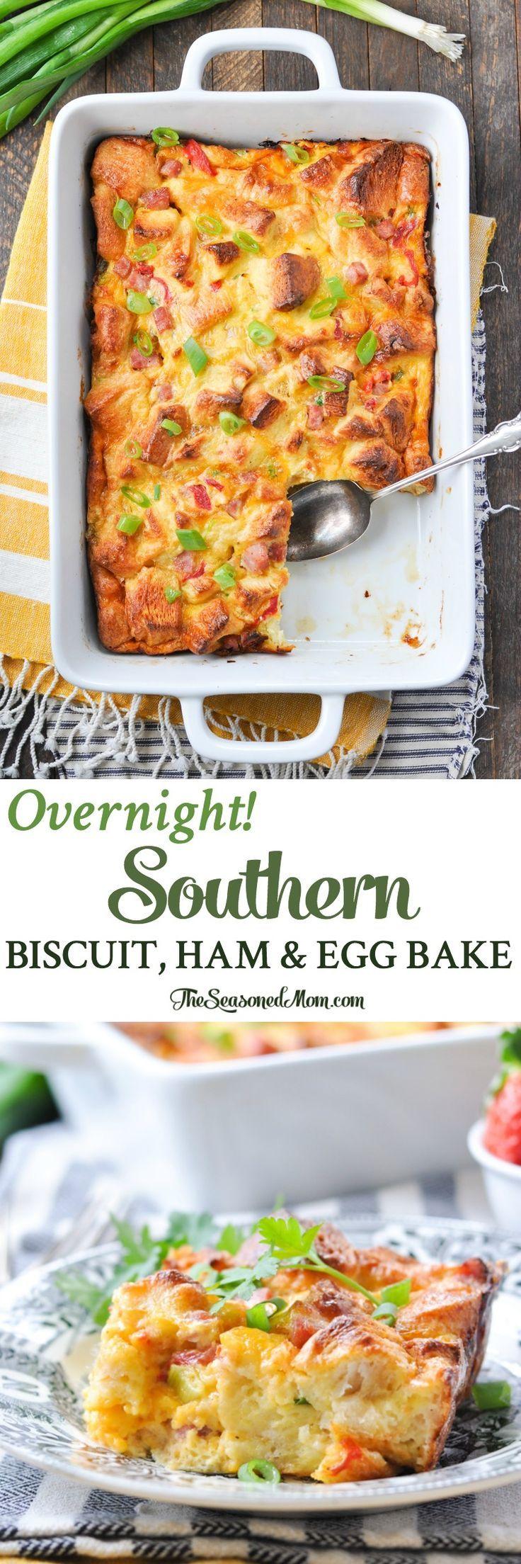 Overnight Southern Biscuit, Ham & Egg Bake! Breakfast Casserole | Breakfast Ideas | Breakfast Recipes | Brunch Ideas | Brunch Recipes | Easter Ideas