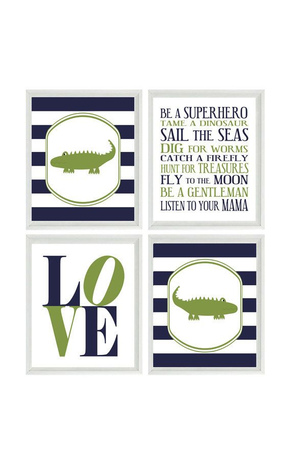 Alligator Nursery Art  Boy Rules  Love  Navy by RizzleandRugee, $50.00