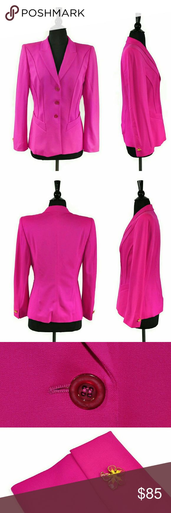 "Escada Hot Pink Button Blazer Jacket Details   Brand - Escada Margaretha Ley Size - German 34 - About a US Small /S - refer to measurements for best fit  Material - 96% Wool / 4% Spandex Color - Hot Pink Closure  - Three Button Front Condition - Excellent, pre-owned. No rips, stains, odors, or notable flaws present on the garment.   Details - Floral Enamel Cuff Button Accents  Measurements Bust -34"" Waist - 32"" Sleeve - 23"" Length - 25"" Escada Jackets & Coats Blazers"
