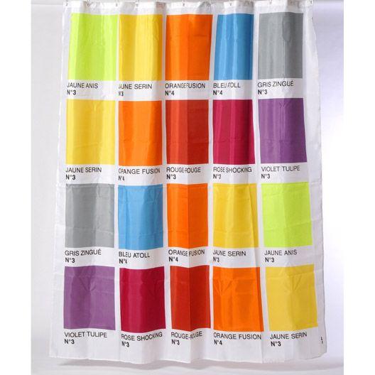 Rideau de douche en tissu Color SENSEA, rose shocking n°3, 180 x 200 cm