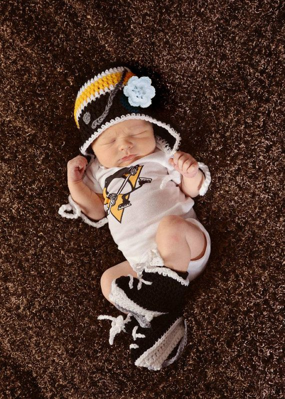 I love this of it was boys and columbus blue jackets!! Baby Girls Pittsburg Penguins HOCKEY Helmet HAT and SKATES Set Bright or Deep Gold Size Preemie/ Newborn/ 3 to 6 Months on Etsy, $35.00