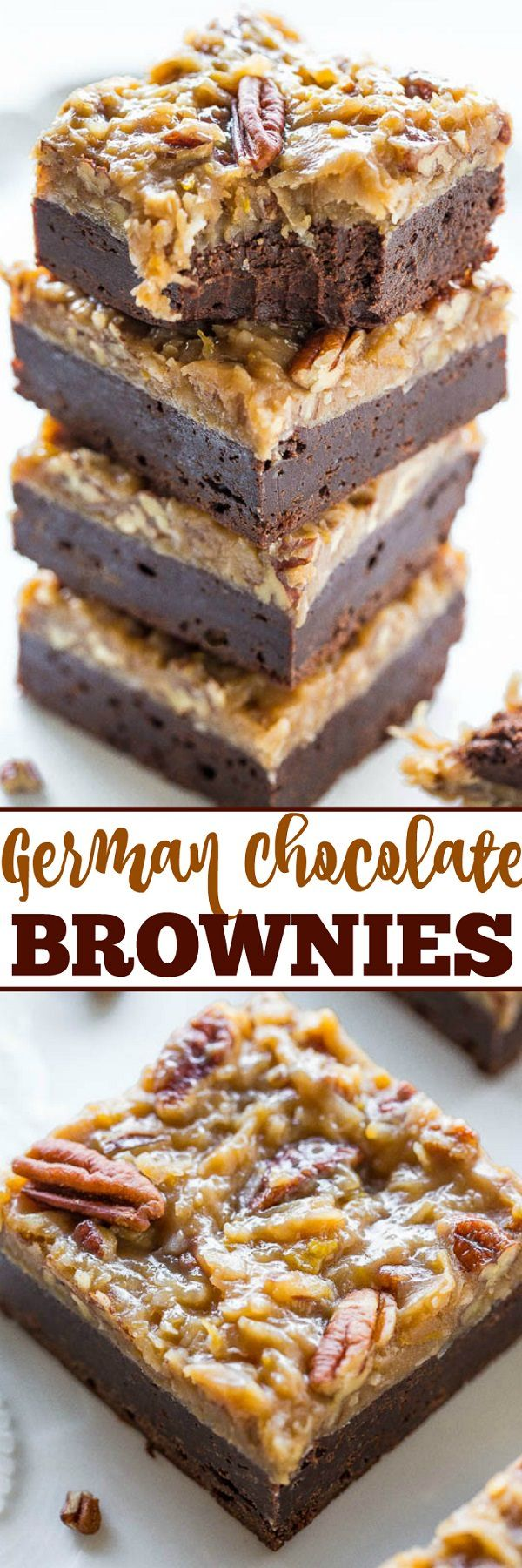 Dense, rich, fudgy brownies topped with a coconut and pecan frosting that's sweet and full of texture from shredded coconut and pecans.