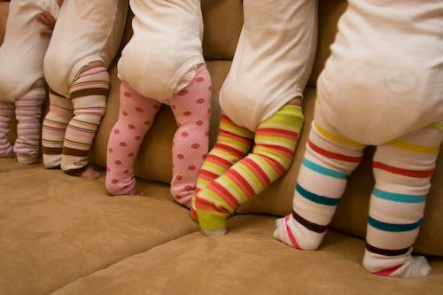 DIY Baby Leg Warmers ~ made from women's knee socks... they're amazingly convenient for diaper changes cause you don't have to take down/ unbutton any pants. They're also nice to keep your baby's legs from getting rug burn while they're crawling around.