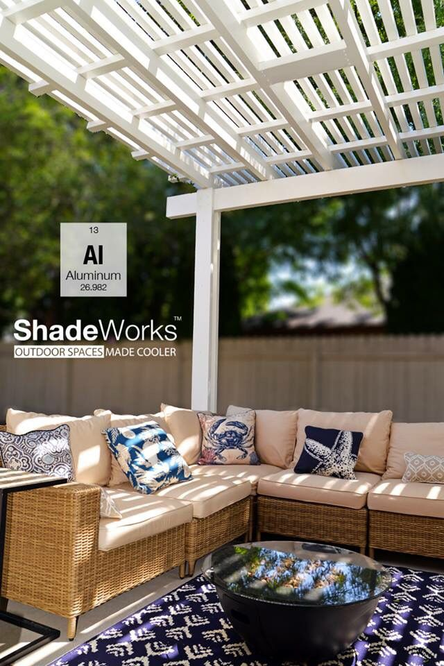 Low maintenance aluminum shade pergola. The look of real wood with a lifetime warranty. www.shadeworks.com #patio #shade #pergola