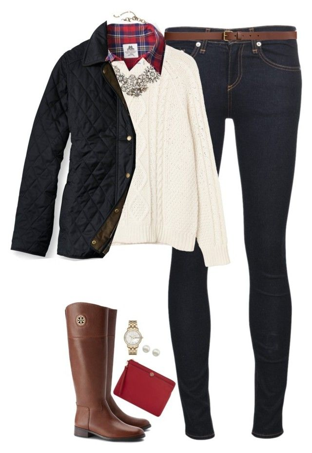 """""""Red plaid, cable knit & statement necklace"""" by steffiestaffie ❤ liked on Polyvore featuring rag & bone/JEAN, Monki, J.Crew, H&M, Thomas Mason, L.L.Bean, Tory Burch, Majorica and Marc Jacobs"""