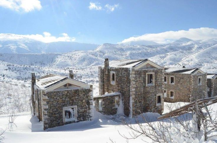 Stunning view of the traditional houses Arodamos during winter