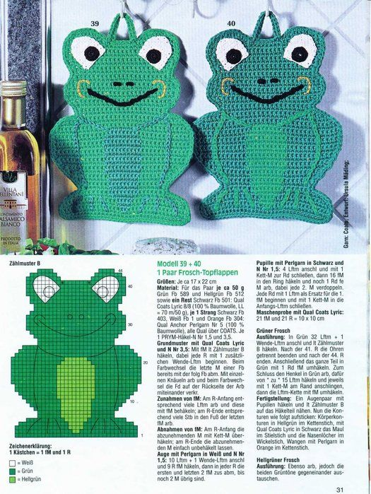 frog crochet potholder - BONUS! Scroll down to 'months' for more pages of all-kinds-of-crochet patterns/charts