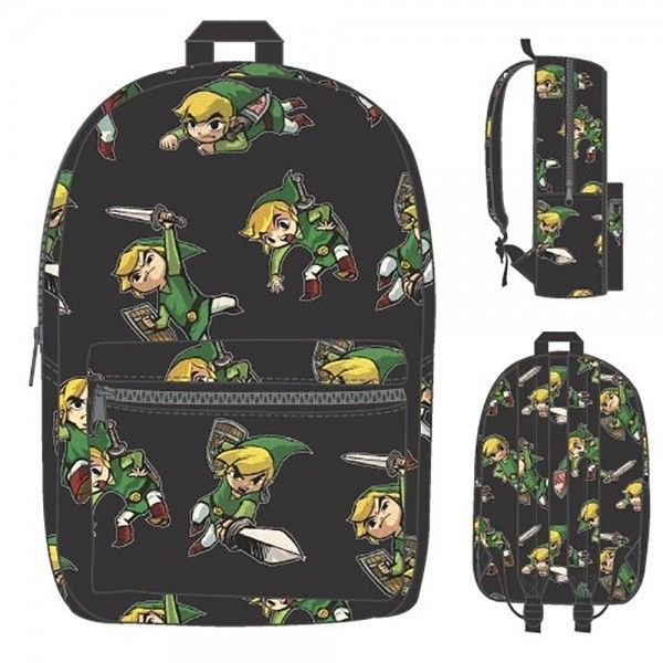Score major fashion points with this nifty Nintendo backpack featuring the many faces of Link, the famed hero from *The Legend of Zelda*! Whether its triumphiantly weilding his sword, bravely charging forward, crawling sneakily, or being amazed, *Zelda* fans are sure to enjoy the various expressions of chibi Link. Store larger items such as notebooks or a sweater in the main compartment, and use t...