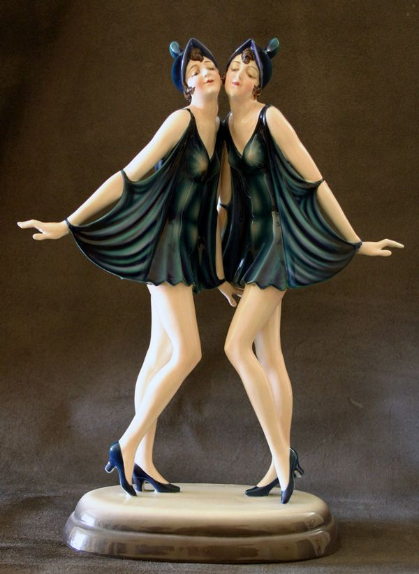 "A beautiful rare Art Deco figure by Dakon for Goldscheider,  Austria c1920s,  depicting the ""Dolly sisters"""