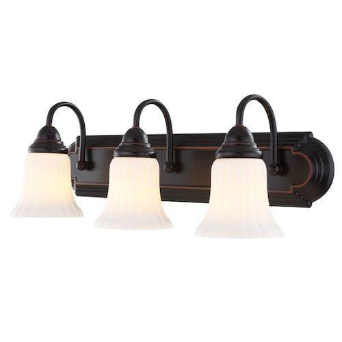 Portfolio 3 Light 24 09 In Oil Rubbed Bronze Vanity Light Lowes Com Bronze Light Fixture Oil Rubbed Bronze Bathroom Vanity Light Bar