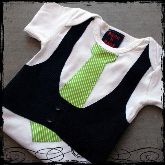 12-18M -- Black Corduroy Vest -- Lime Green Stripe Tie -- White Short Sleeve Bodysuit